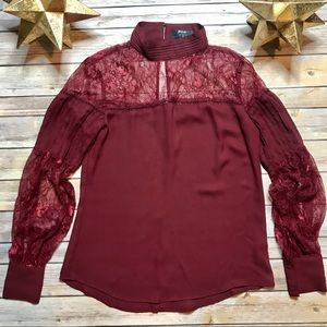 Nasty Gal Burgundy Blouse Small